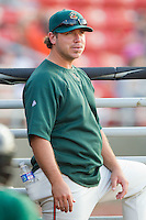 Greensboro Grasshoppers hitting coach Kevin Randel #12 at  L.P. Frans Stadium July 10, 2010, in Hickory, North Carolina.  Photo by Brian Westerholt / Four Seam Images