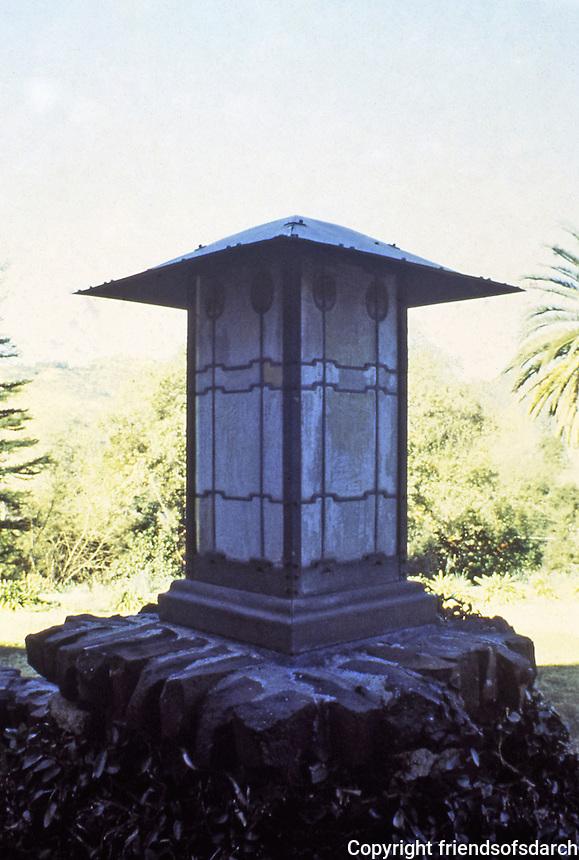 Greene & Greene:  Gamble House, Pasadena CA,, 1908.  Detail of stained glass lamp post.