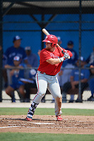 Philadelphia Phillies Rudy Rott (14) at bat during an Instructional League game against the Toronto Blue Jays on September 27, 2019 at Englebert Complex in Dunedin, Florida.  (Mike Janes/Four Seam Images)