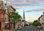 "View of Warren Street, Hudson, New York, at dawn. This photo appeared in the November 2013 edition of Architectural Digest, in an article on Hudson entitled ""River Dance,"" in the Travels section of the magazine."