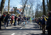 Christian Knees (DEU/SKY) leads his teammates & the peloton over the 1st hill of the day: Tiegemberg<br /> <br /> 99th Ronde van Vlaanderen 2015
