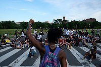 Demonstrators gather in support of Black Lives Matter near the Washington Monument in Washington D.C., U.S., on Tuesday, June 23, 2020.  Trump tweeted that he authorized the Federal government to arrest any demonstrator caught vandalizing U.S. monuments, with a punishment of up to 10 years in prison.  Credit: Stefani Reynolds / CNP/AdMedia