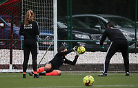 Louise Van Den Bergh goalkeeper of OHL (1) catches the ball during the warm up before a female soccer game between Oud Heverlee Leuven and Femina White Star Woluwe  on the 5 th matchday of the 2020 - 2021 season of Belgian Womens Super League , Sunday 18 th of October 2020  in Heverlee , Belgium . PHOTO SPORTPIX.BE   SPP   SEVIL OKTEM