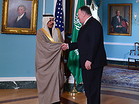 Washington, DC - February 12, 2020: US Secretary of State Mike Pompeo meets with Saudi Foreign Minister   Faisal bin Farhan Al Saud at the State Department in Washington February 12, 2020.  (Photo by Don Baxter/Media Images International)