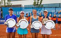 Amstelveen, Netherlands, 10 Juli, 2021, National Tennis Center, NTC, Amstelveen Womans Open, Doubles final: Winners :  Suzan Lamens (NED) and Quirine Lemoine (R) and runners up Amina Anshba (RUS) and Anastasia Detiuc (CZE)  receive the winners trophy <br /> Photo: Henk Koster/tennisimages.com