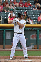 John Hester (22) of the Salt Lake Bees at bat against the Reno Aces at Smith's Ballpark on May 4, 2014 in Salt Lake City, Utah.  (Stephen Smith/Four Seam Images)