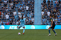 ST PAUL, MN - AUGUST 14: Romain Metanire #19 of Minnesota United FC kicks the ball during a game between Los Angeles Galaxy and Minnesota United FC at Allianz Field on August 14, 2021 in St Paul, Minnesota.