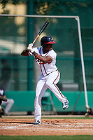 GCL Braves center fielder Jeremy Fernandez (13) at bat during the first game of a doubleheader against the GCL Yankees West on July 30, 2018 at Champion Stadium in Kissimmee, Florida.  GCL Yankees West defeated GCL Braves 7-5.  (Mike Janes/Four Seam Images)