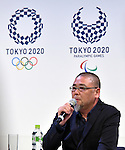 April 25, 2016, Tokyo, Japan - Designer Asao Tokolo speaks during a news conference after his designs - stark indigo-and-white checkered patterns - have been named the official logos for the 2020 Tokyo Olympics and Paralympics in Tokyo on Monday, April 25, 2016.  (Photo by Natsuki Sakai/AFLO) AYF -mis-