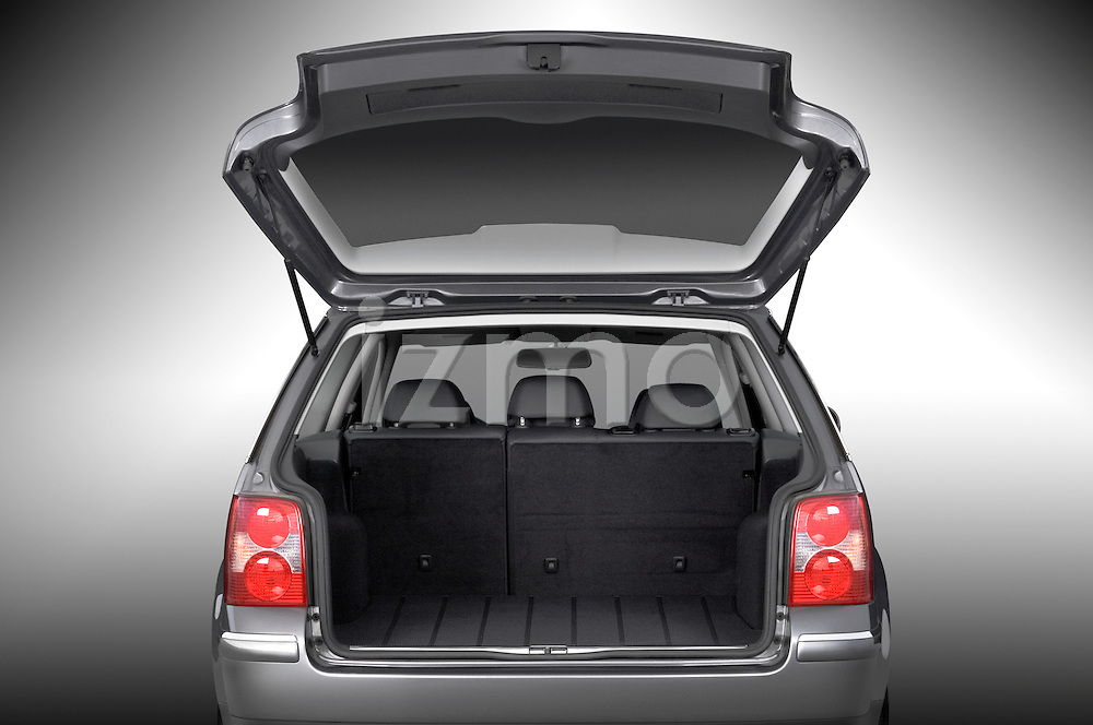 Rear view with trunk open on a 2005 VW Passat Wagon
