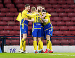 St Johnstone v Hibs…23.01.21   Hampden     BetFred Cup Semi-Final<br />Shaun Rooney celebrates his goal with Liam Gordon, Ali McCann, Craig Conway and David Wotherspoon<br />Picture by Graeme Hart.<br />Copyright Perthshire Picture Agency<br />Tel: 01738 623350  Mobile: 07990 594431