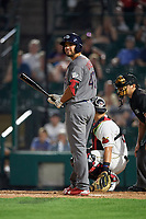 Lehigh Valley IronPigs third baseman Damek Tomscha (47) at bat in front of catcher Juan Graterol (52) and home plate umpire Charlie Ramos during a game against the Rochester Red Wings on June 30, 2018 at Frontier Field in Rochester, New York.  Lehigh Valley defeated Rochester 6-2.  (Mike Janes/Four Seam Images)