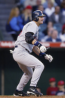 A.J. Pierzynski of the Minnesota Twins bats during a 2002 MLB season game against the Los Angeles Angels at Angel Stadium, in Anaheim, California. (Larry Goren/Four Seam Images)