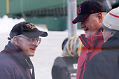 """John """"Jocko"""" Connolly (Boston Herald), Larry Venis (BU - Assistant Director-Athletic Training Services) - The Boston University Terriers practiced on the rink at Fenway Park on Friday, January 6, 2017.The Boston University Terriers practiced on the rink at Fenway Park on Friday, January 6, 2017."""