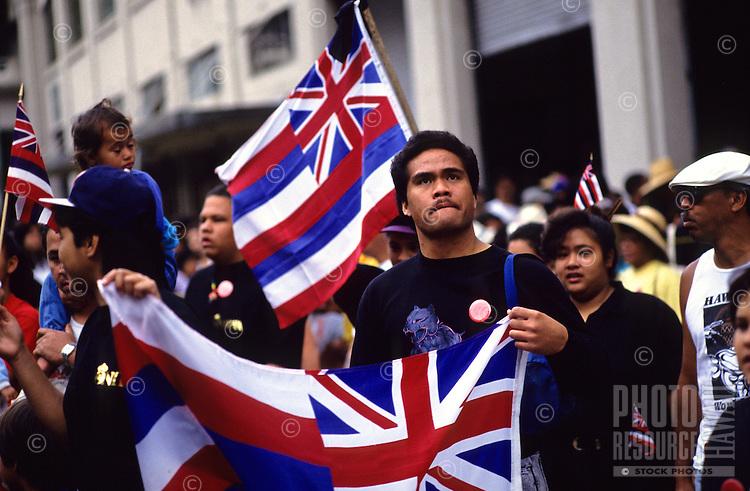 "Hawaiian flags at Aloha Tower; observance of 100th anniversary of overthrow of the Hawaiian monarchy/""Onipa'a;"" Iolani Palace, Honolulu, Hawaii.1-17-93"