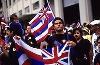 "Hawaiian flags at Aloha Tower; observance of 100th anniversary of overthrow of the Hawaiian monarchy/""Onipa'a;"" Iolani Palace, Honolulu, Hawaii.1-17-93"