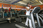 WATERBURY, CT,  03 JANUARY 2006, 010307BZ02- Renee Bennett, 19, of Waterbury, works out at Dolphin Fitness Center in Waterbury Wednesday night.  Bennett said she joined January 2, because she wanted to get in shape and stay healthy.<br /> Jamison C. Bazinet Republican-American