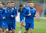 St Johnstone Training….19.08.20<br />Callum Hendry pictured running with David Wotherspoon and Liam Gordon during training at McDiarmid Park this morning ahead of tomorrow's re-arranged game against Aberdeen.<br />Picture by Graeme Hart.<br />Copyright Perthshire Picture Agency<br />Tel: 01738 623350  Mobile: 07990 594431