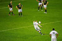 Owen Farrell of England takes the final penalty kick just before the final whistle during the QBE Autumn International match between England and South Africa at Twickenham on Saturday 24 November 2012 (Photo by Rob Munro)