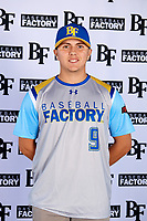 Kai Guzman (9) of Moorpark High School in Camarillo, California during the Baseball Factory All-America Pre-Season Tournament, powered by Under Armour, on January 12, 2018 at Sloan Park Complex in Mesa, Arizona.  (Mike Janes/Four Seam Images)