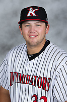 Kannapolis Intimidators third baseman Jake Burger (32) poses for a photo prior to the game against the Hagerstown Suns at Kannapolis Intimidators Stadium on July 9, 2017 in Kannapolis, North Carolina.  The Intimidators defeated the Suns 3-2 in game one of a double-header.  (Brian Westerholt/Four Seam Images)
