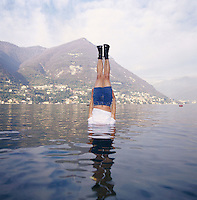 "Li Wei artwork named ""Liwei falls to the Como lake, Italy"" ...PHOTO BY SINOPIX"