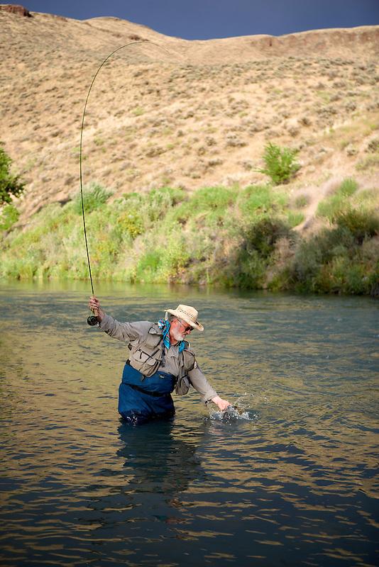 Fly fisherrman landing brown trout on Owyhee River. Oregon