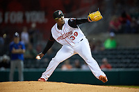 Arkansas Travelers relief pitcher Thyago Vieira (39) delivers a pitch during a game against the Midland RockHounds on May 25, 2017 at Dickey-Stephens Park in Little Rock, Arkansas.  Midland defeated Arkansas 8-1.  (Mike Janes/Four Seam Images)
