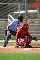 Umpire Kaleb Martin and GCL Cardinals catcher Cristhian Longa (41) during a Gulf Coast League game against the GCL Astros on August 11, 2019 at Roger Dean Stadium Complex in Jupiter, Florida.  GCL Cardinals defeated the GCL Astros 2-1.  (Mike Janes/Four Seam Images)