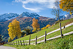 Oesterreich, Kaernten, Moelltal bei Doellach: Herbstlandschaft vor den schneebedeckten Gipfeln der Schobergruppe (Hohe Tauern) | Austria, Carinthia, Valley Moelltal near Doellach: autumn scenery and snowcapped summits of Schober Group mountains, part of Hohe Tauern mountains