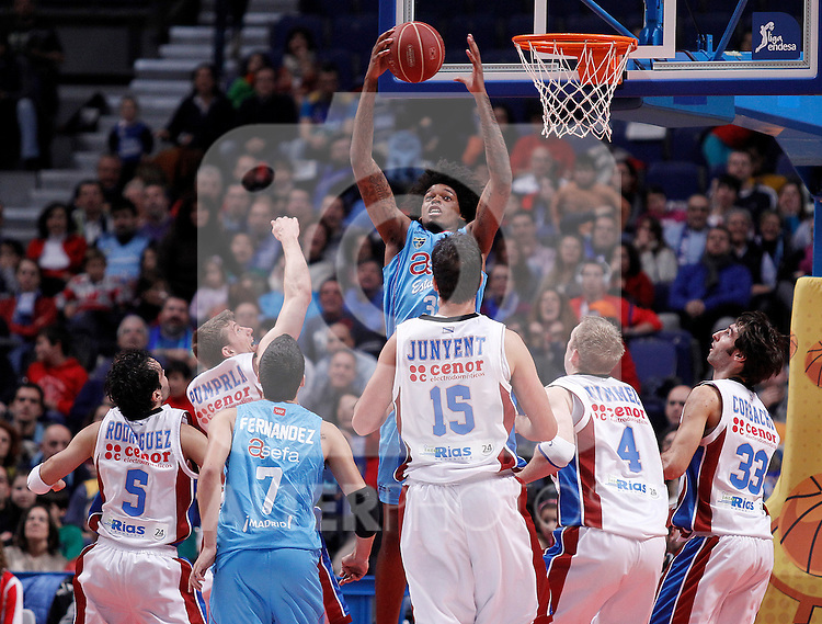 Asefa Estudiantes' Lucas Nogueira (c) and Jaime Fernandez (3l) and Blusens Monbus' Pavel Pumpria (2l), Andres Rodriguez (l), Oriol Junyent (3r), Robbie Hummel (2r) and Alberto Corbacho (r) during Liga Endesa ACB match.December 1,2012. (ALTERPHOTOS/Acero)