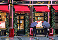 Exterior of the Cartier store in New Bond Street, London with it's traditionally chic Christmas display. London. Thursday November 19th 2020<br /> <br /> Photo by Keith Mayhew
