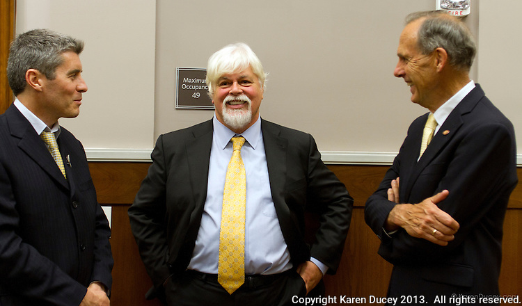 PAUL WATSON, Founder of the Sea Shepherd Conservation Society, testifies in the United States  Court of Appeals, Ninth Circuit in Seattle, Washington under Commissioner Peter L. Shaw in Seattle, Wash. on November 6, 2013. Watson is being brought to trial by the Institute of Cetacean Research, Kyodo Senpaku Kaisha, Ltd., Tomoyuki Ogawa, Toshiyuki Miura and Hiroyuki Komura for impeding their whale hunt in the Southern Ocean, potentially violating an injunction issued by the court last December 2012.