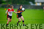 Marina Barry of Austin Stacks tries to get around Neasa Ni Luing of Corcha Duibhne in the Kerry Ladies Intermediate Football Championship.