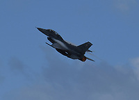 FORT LAUDERDALE FL - NOVEMBER 19: The General Dynamics F-16 Fighting Falcon is seen in flight during press day for the Fort Lauderdale Air Show at the Fort Lauderdale-Hollywood International Airport on November 19, 2020 in Fort Lauderdale, Florida. Credit: mpi04/MediaPunch