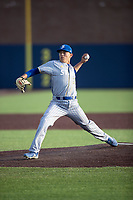 San Jose State Spartans pitcher Connor Konishi (25) delivers a pitch to the plate against the Michigan Wolverines on March 27, 2019 in Game 2 of the NCAA baseball doubleheader at Ray Fisher Stadium in Ann Arbor, Michigan. Michigan defeated San Jose State 3-0. (Andrew Woolley/Four Seam Images)