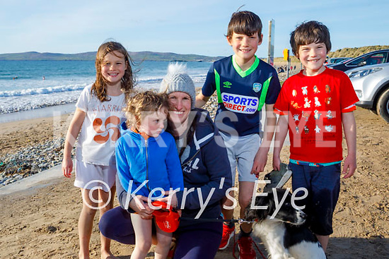 The Quilter family enjoying a stroll in Banna beach on Monday, l to r: Aine, Tadgh, Siobhan, Donnacha, Cillian Quilter with Daisy the dog.