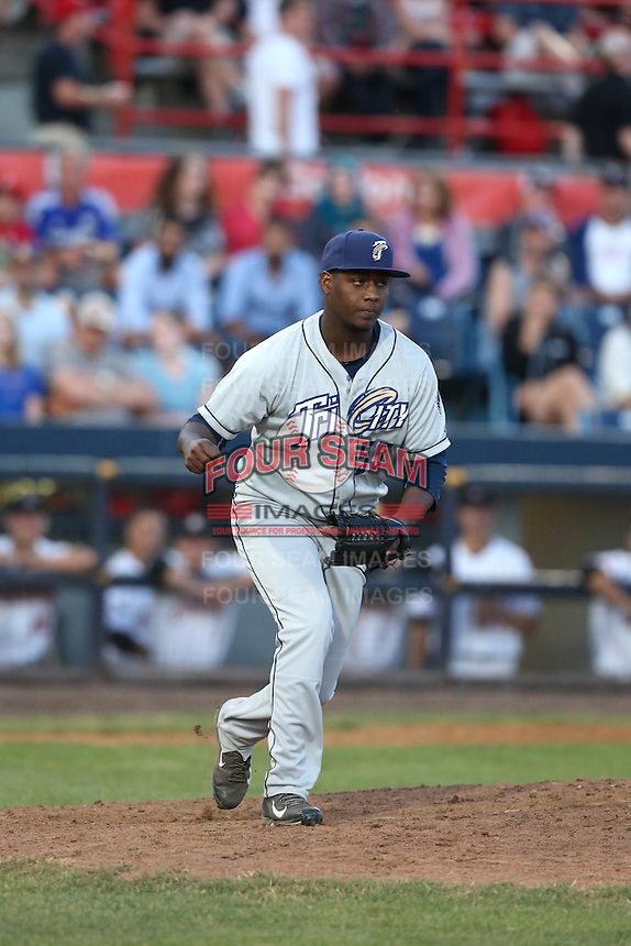 Wilson Santos (55) of the Tri-City Dust Devils pitches during a game against the Vancouver Canadians at Nat Bailey Stadium on July 23, 2015 in Vancouver, British Columbia. Tri-City defeated Vancouver, 6-4. (Larry Goren/Four Seam Images)