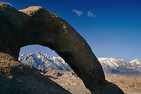 Eroded granite arch and Lone Pine Peak<br /> Alabama Hills, Bishop Resource Area BLM<br /> Sierra Nevada<br /> Mojave Desert, California