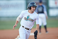 Jake Whitcomb (4) (Charlotte) of the Mooresville Spinners hustles towards third base against the Carolina Venom at Moor Park on June 22, 2020 in Mooresville, NC.  The Spinners defeated the Venom 7-2. (Brian Westerholt/Four Seam Images)