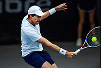 Men's doubles final between Marcus Daniell (pictured) / George Stoupe and Kiranpal Pannu / Ajeet Rai. 2019 Wellington Tennis Open finals at Renouf Centre in Wellington, New Zealand on Sunday, 22 December 2019. Photo: Dave Lintott / lintottphoto.co.nz
