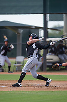 Corey Zangari (44) of the Chicago White Sox follows through on his swing during an Instructional League game against the San Diego Padres on September 26, 2017 at Camelback Ranch in Glendale, Arizona. (Zachary Lucy/Four Seam Images)