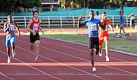 CALI - COLOMBIA. 22-06-2013. Gran Prix de atletismo en el estadio Pedro Grajales de Cali . Prueba 400 mts planos ganador Jhon Alejabdro Perlaza. Photo: VizzorImage/Juan C. Quintero/STR