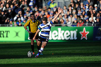 George Ford of Bath Rugby takes a penalty kick during the European Rugby Champions Cup  Round 2 match between Bath Rugby and Stade Toulousain at The Recreation Ground on Saturday 25th October 2014 (Photo by Rob Munro)
