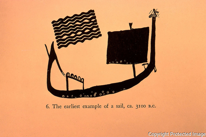 World Civilization:  Ancient Ships--the earliest example of a sail, circa 3100 B.C.  Vase of late Gerzean Period.  Casson, SHIPS AND SEAMANSHIP IN THE ANCIENT WORLD.