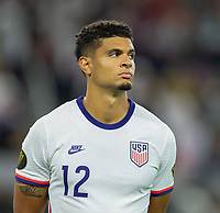 DALLAS, TX - JULY 25: Miles Robinson #12 of the United States during a game between Jamaica and USMNT at AT&T Stadium on July 25, 2021 in Dallas, Texas.