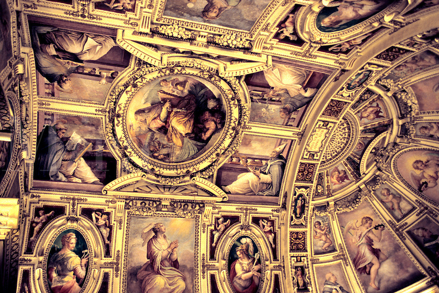 Beautiful painting of the ceiling of the Sistene Chapel  in the Vatican of Roma Rome Ital