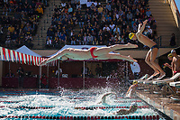 STANFORD, CA - February 17, 2018: Jordan Greenberg at Avery Aquatic Center. The Stanford Cardinal defeated the California Golden Bears 151-149 on Senior Day.