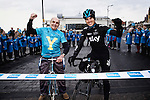 PICTURE BY SHAUN FLANNERY/SWPIX.COM<br /> <br /> Picture by Shaun Flannery/SWpix.com - 21/01/2015 - Cycling - Tour de Yorkshire 2015 Route Launch - The Spa, Bridlington, England<br /> Team Sky cyclist Ben Swift (R) and former cyclist Brian Robinson (L) pictured with local school children to launch the route of the 2015 Tour de Yorkshire.