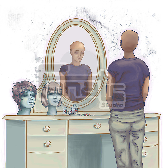 Illustrative image of dejected cancer woman standing in front of dressing table
